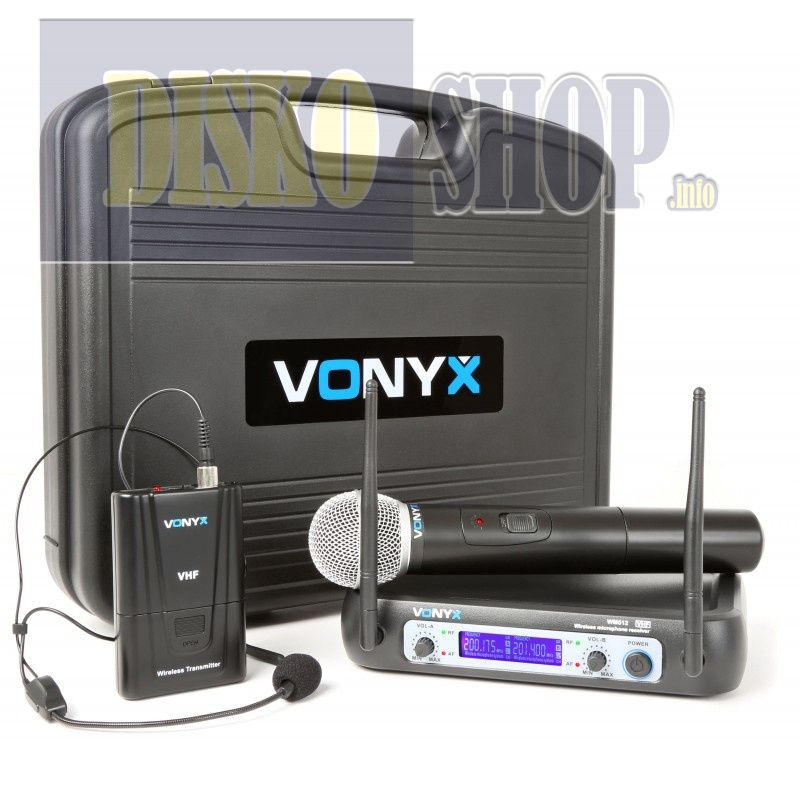 Vonyx WM512C 2-Channel VHF Wireless Microphone System Combi with Handheld, Bodyp
